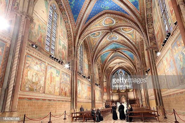 A general view of the atmosphere at the Sacro Convento and Saint Francis Basilica during the visit of Pope Francis on October 4 2013 in Assisi Italy...