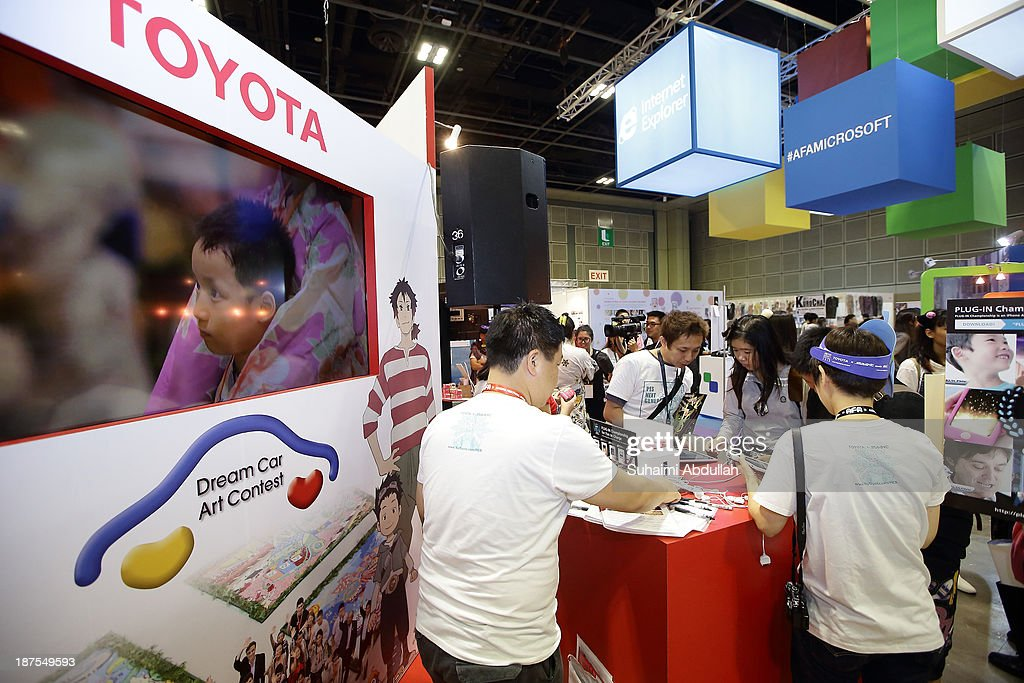 A general view of the atmosphere at the TOYOTA x Studio4C booth during the Anime Festival Asia 2013 at Suntec Convention & Exhibition Center on November 10, 2013 in Singapore.