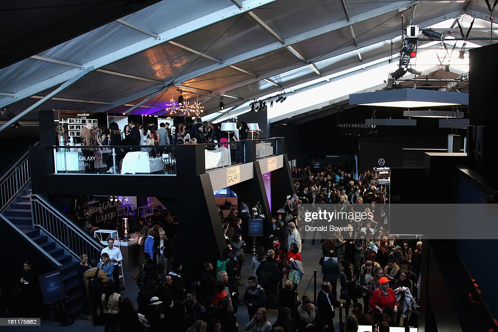A general view of the atmosphere at the VIP reception for Herve Leger by Max Azria hosted by Samsung Galaxy Lounge at Mercedes-Benz Fashion Week Fall 2013 Collections at Lincoln Center on February 9, 2013 in New York City.