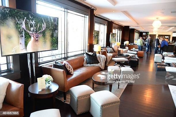General view of the atmosphere at the Waldorf Astoria Hotels Resorts and Harvey Weinstein host football viewing party on January 19 2014 in Park City...