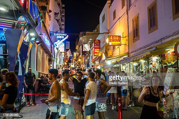 General view of the atmosphere at 'The West End' in San Antonioo on August 22 2013 in Ibiza Spain The small island of Ibiza lies within the Balearics...