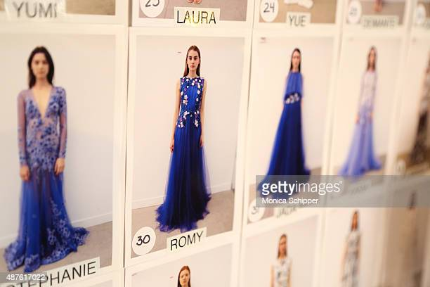 A general view of the atmosphere backstage at the Tadashi Shoji fashion show during Spring 2016 New York Fashion Week at The Dock Skylight at...