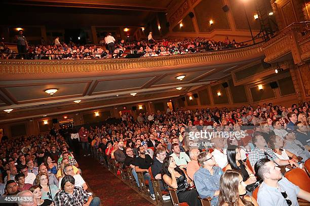 A general view of the atmosphere during a QA after a screening of 'Frank Miller's Sin City 2 A Dame To Kill For' at the Paramount Theatre on August...