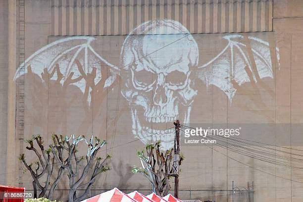 A general view of the atmosphere during Avenged Sevenfold Groundbreaking Global VR Event Live at Iconic Capitol Records Building Band...