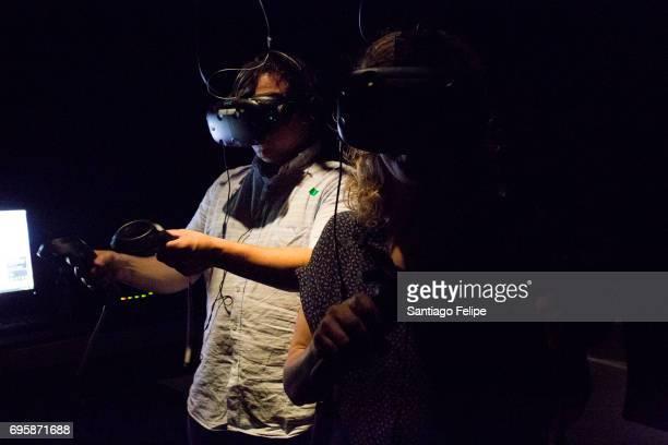 General view of the atmosphere during 'Bjork Digital' Exhibition at Centre de Cultura Contemporania de Barcelona on June 14 2017 in Barcelona Spain