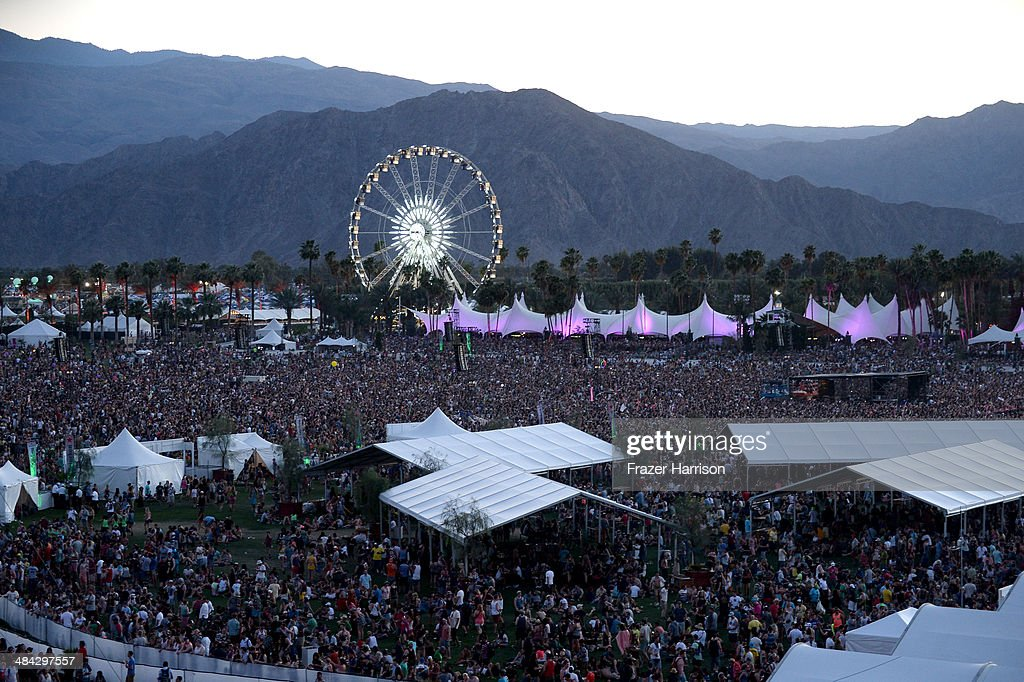 A general view of the atmosphere during day 1 of the 2014 Coachella Valley Music Arts Festival at the Empire Polo Club on April 11 2014 in Indio...