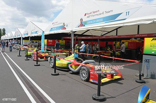 A general view of the atmosphere during Day One at the 2015 FIA Formula E Visa London ePrix at Battersea Park on June 27 2015 in London England