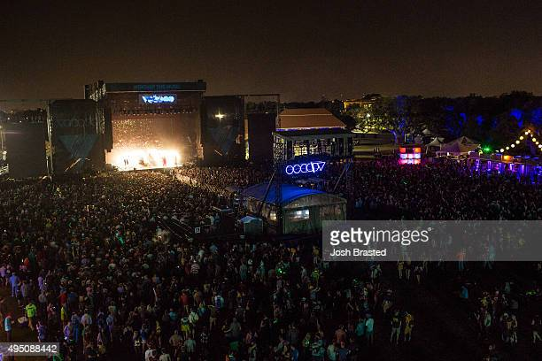 A general view of the atmosphere during Florence The Machine's performance at the Voodoo Music Arts Experience at City Park on October 30 2015 in New...