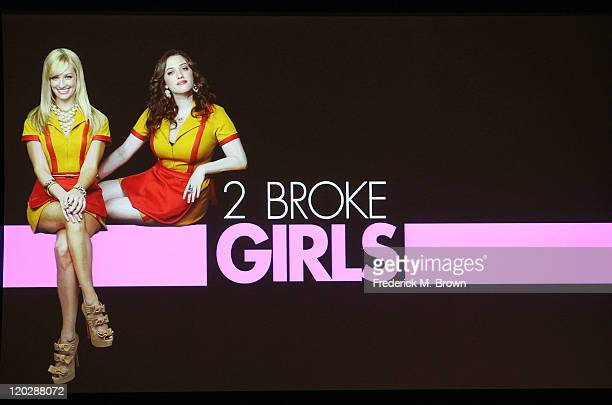 General view of the atmosphere during the '2 Broke Girls' panel during the CBS portion of the 2011 Summer TCA Tour held at the Beverly Hilton Hotel...