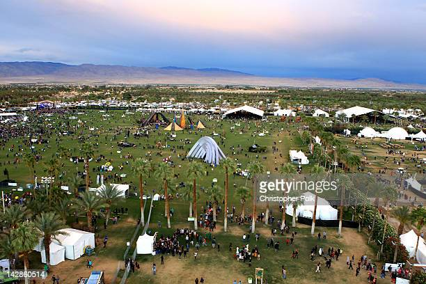 General view of the atmosphere from the ferris wheel at the 2012 Coachella Valley Music Arts Festival held at The Empire Polo Field on April 13 2012...