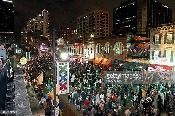 A general view of the atmosphere on 6th street in downtown Austin during the South By Southwest Music Festival on March 20 2015 in Austin Texas