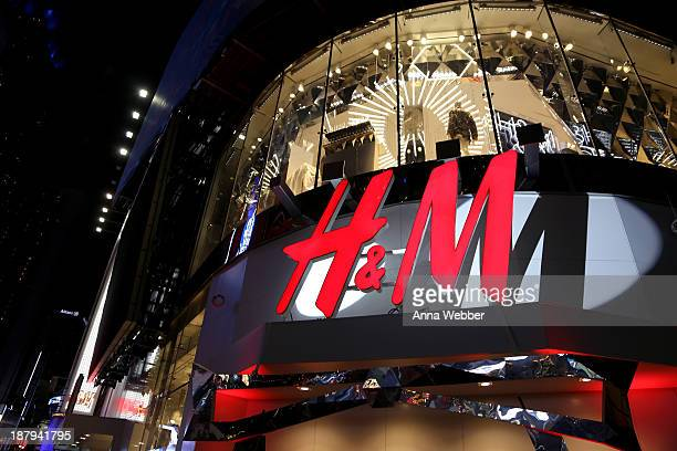 A general view of the atmosphere outside as HM and Lady Gaga open an epic HM store in Times Square on November 13 2013 in New York City