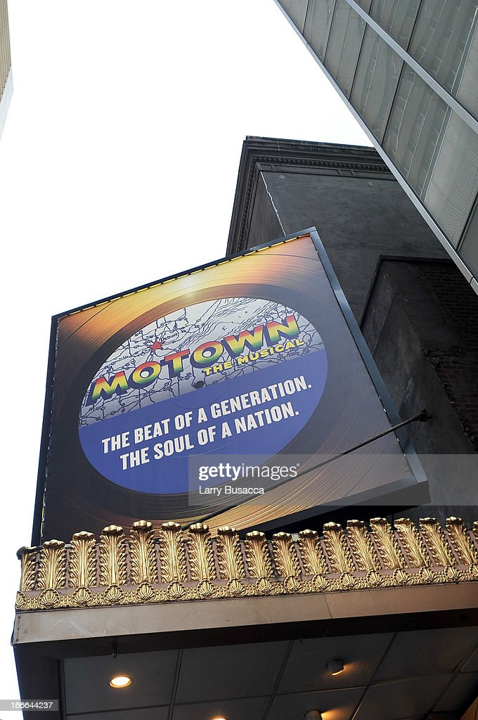 A general view of the atmosphere outside of 'Motown The Musical' Opening Night at LuntFontanne Theatre on April 14 2013 in New York City