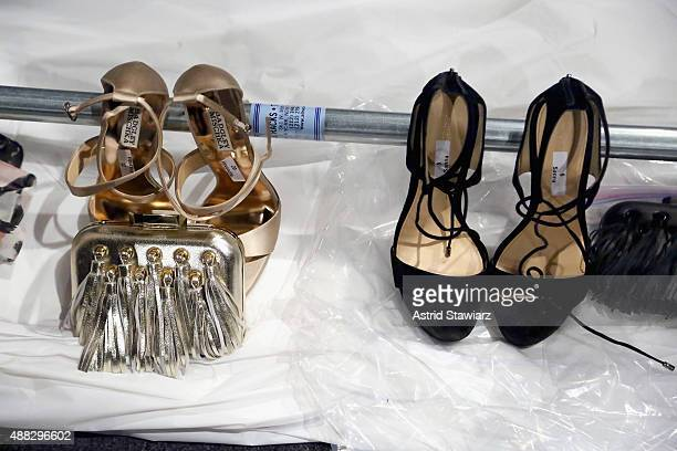 A general view of the atmosphere shoe detail backstage at Badgley Mischka Spring 2016 during New York Fashion Week The Shows at The Arc Skylight at...