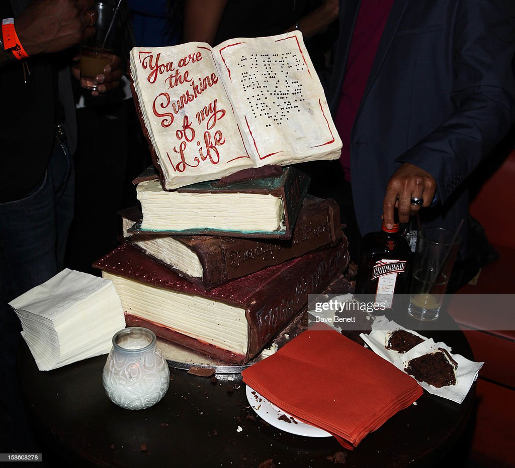 A general view of the atmosphere where Macy Gray attends a party where she was presented with a large cake made in the form of books with 'You Are the Sunshine of My Life' at The Mahiki Club in London's West End after a gig at Koko's in Camden on on December 20, 2012 in London, England.