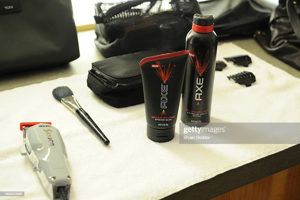 General view of the atmosphere while J.J. Watt gets a spiked-up look using a new line of AXE hair products at Truman's on January 29, 2013 in New York City.