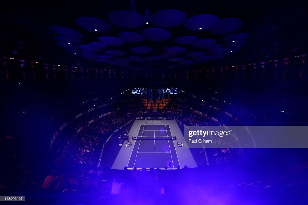 A general view of the ATP Champions Tour Final between <a gi-track='captionPersonalityLinkClicked' href=/galleries/search?phrase=Tim+Henman&family=editorial&specificpeople=167277 ng-click='$event.stopPropagation()'>Tim Henman</a> of Great Britain and <a gi-track='captionPersonalityLinkClicked' href=/galleries/search?phrase=Fabrice+Santoro&family=editorial&specificpeople=206131 ng-click='$event.stopPropagation()'>Fabrice Santoro</a> of France during the Statoil Masters Tennis at Royal Albert Hall on December 9, 2012 in London, England.