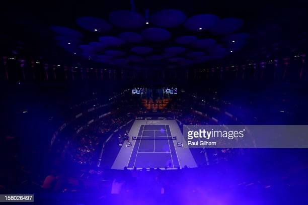 A general view of the ATP Champions Tour Final between Tim Henman of Great Britain and Fabrice Santoro of France during the Statoil Masters Tennis at...