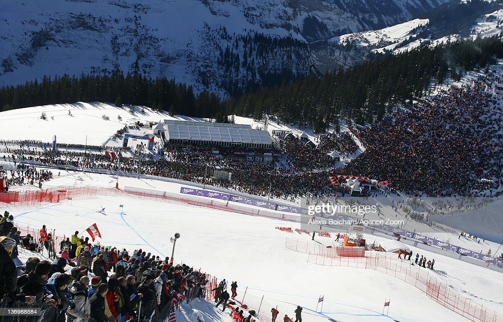 A general view of the Audi FIS Alpine Ski World Cup Men's Downhill on January 14 2012 in Wengen Switzerland