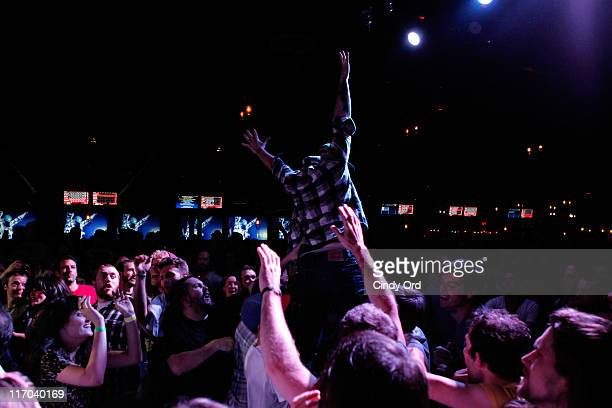 General view of the audience as Deer Tick performs as Deervana during the 2011 Northside Music Festival at Brooklyn Bowl on June 19 2011 in New York...