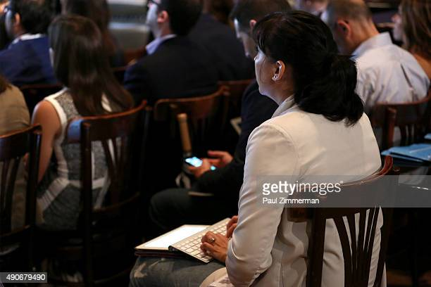 A general view of the audience at the Crash Course in Influencer Marketing panel presented by ZEFR during Advertising Week 2015 AWXII at Lucille's at...