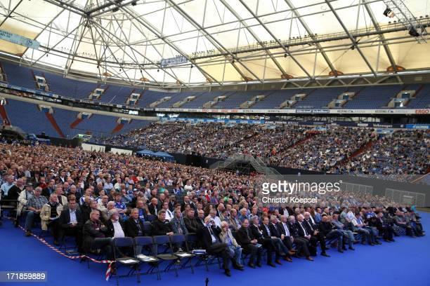 General view of the audience during the FC Schalke 04 annual meeting at Veltins Arena on June 29 2013 in Gelsenkirchen Germany