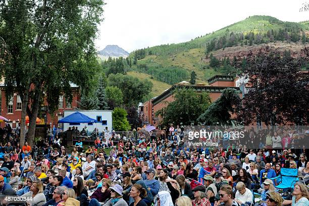 A general view of the audience in Elks Park during a seminar at the 2015 Telluride Film Festival on September 5 2015 in Telluride Colorado