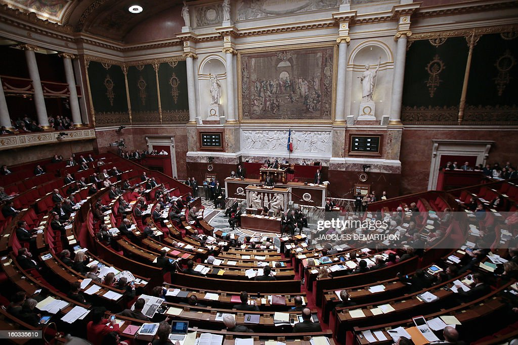 A general view of the audience room at the National Assembly in Paris is pictured on January 29, 2013. The French National Assembly is due to begin a marathon debate on legalising same-sex marriage after months of public protests and counter-protests.