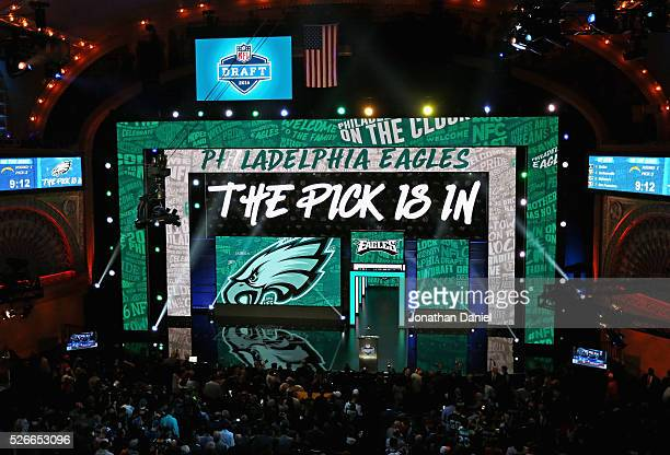 A general view of the Auditorium theater announcing 'The Pick Is In' during the 2016 NFL Draft on April 28 2016 in Chicago Illinois