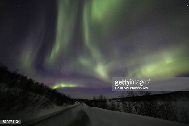A general view of the Aurora Borealis or Northern Lights near Road 93 between Kautokeino and Alta on March 28 2017 in Finnmark Norway