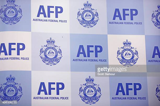 A general view of the Australian Federal Police emblem during a press conference about the terrorism raids that took place in Melbourne this morning...