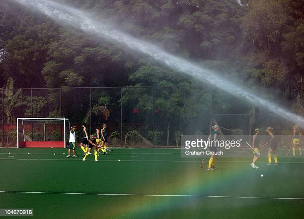 A general view of the Australian Hockeyroos during a training session at the Major Dhyan Chand National Stadium ahead of the Delhi 2010 Commonwealth...