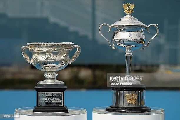A general view of the Australian Open trophies during the official launch of the 2014 Australian Open at Melbourne Park on October 2 2013 in...