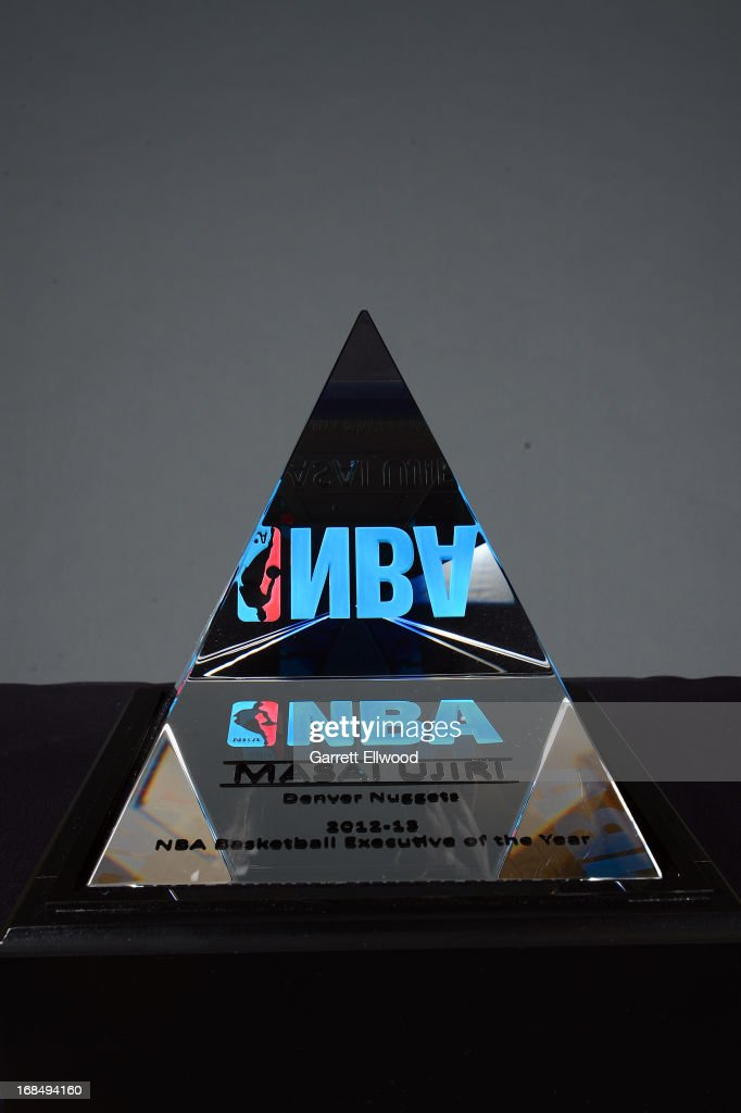 A general view of the award presented to Denver Nuggets Executive Vice President of Basketball Operations Masai Ujiri who was named 2012-2013 NBA Executive of the Year on May 9, 2013 at the Pepsi Center in Denver, Colorado.