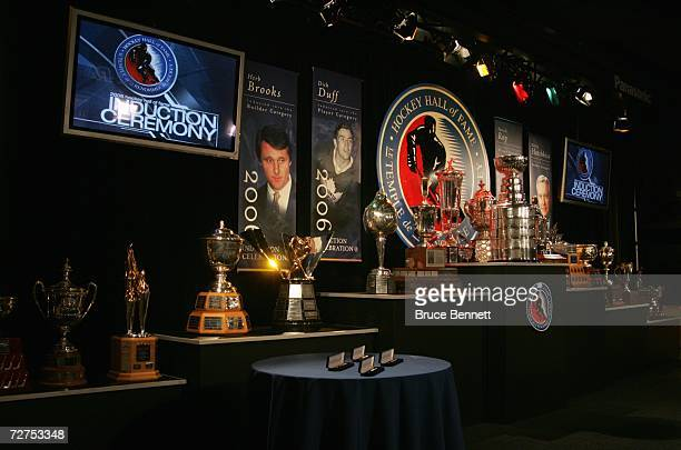 A general view of the awards bowl and trophies during a photo opportunity prior to the Hockey Hall of Fame Induction Ceremonies on November 13 2006...