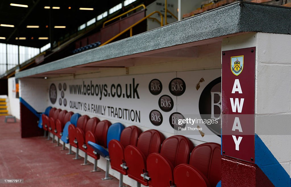 A general view of the away dug out before the Sky Bet Championship match between Burnley and Yeovil Town at Turf Moor on August 17, 2013 in Burnley, England