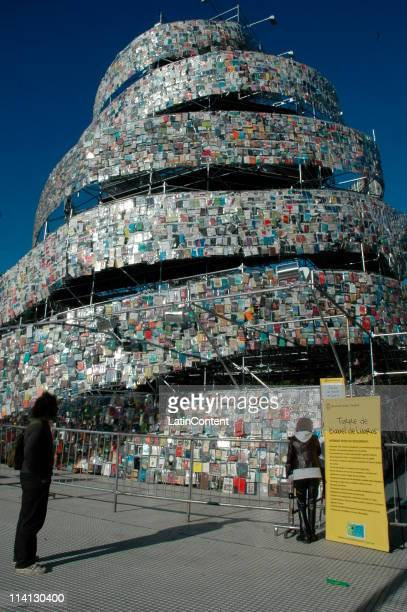 General view of the Babel Book Tower a work of art made by the Argentina pop artist Marta Minujin at Plaza San Martin on May 11 2011 in Buenos Aires...