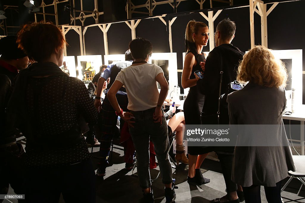 General view of the backstage area prior the Hakan Akkaya show during MBFWI presented by American Express Fall/Winter 2014 on March 15, 2014 in Istanbul, Turkey.