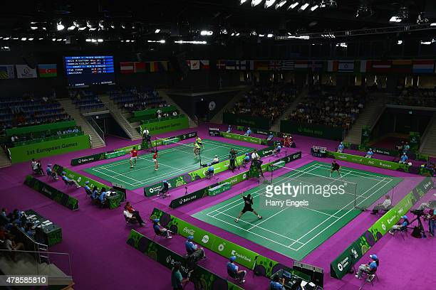 A general view of the badminton courts during day fourteen of the Baku 2015 European Games at Baku Sports Hall on June 26 2015 in Baku Azerbaijan