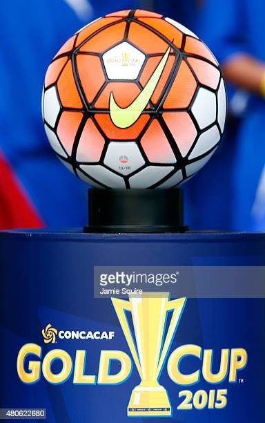 A general view of the ball during the 2015 CONCACAF Gold Cup match between Haiti and Honduras at Sporting Park on July 13 2015 in Kansas City Kansas