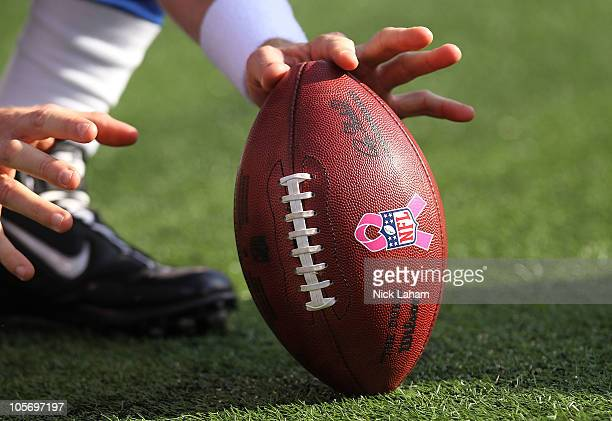 A general view of the ball with the breast cancer awareness pink ribbon during the game between the New York Giants and the Detroit Lions at New...
