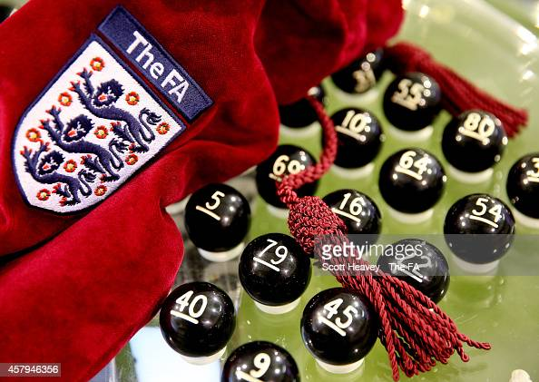 A general view of the balls being prepared for the FA Cup First Round Draw at St Georges Park on October 27 2014 in BurtonuponTrent England