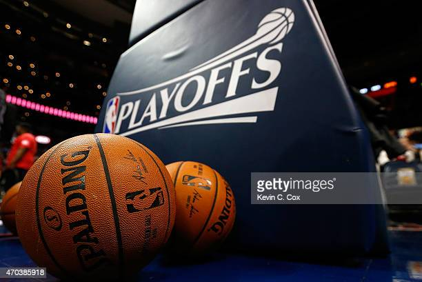A general view of the balls used for warmups prior to Game One of the Eastern Conference Quarterfinals of the NBA Playoffs between the Atlanta Hawks...