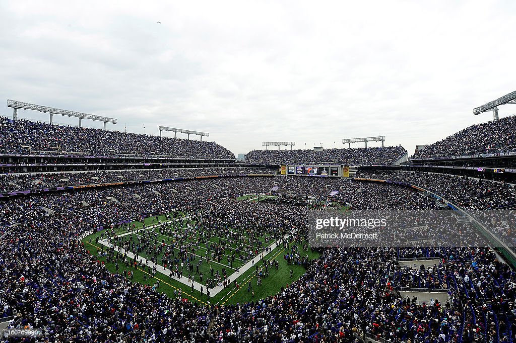 A general view of the Baltimore Ravens celebrating their Super Bowl XLVII victory with fans at MT Bank Stadium on February 5 2013 in Baltimore...