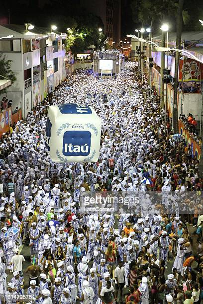 General view of the Band Didá Parade at Circuit Campo Grande in Carnival on February 11 2013 in Salvador Brazil