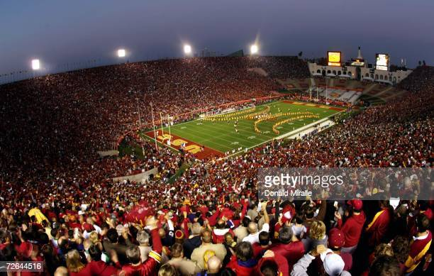 A general view of the band of the field pregame at the USC Trojans against the Notre Dame Fighting Irish on November 25 2006 at the Los Angeles...