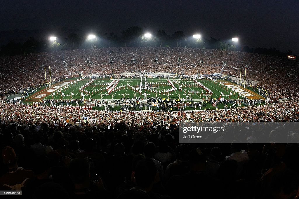 A general view of the bands playing on the field before the Texas Longhorns take on the Alabama Crimson Tide in the Citi BCS National Championship game at the Rose Bowl on January 7, 2010 in Pasadena, California.