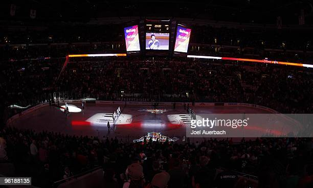 General view of the BankAtlantic Center during the playing of 'O Canada' prior to the game between the Florida Panthers and the Toronto Maple Leafs...