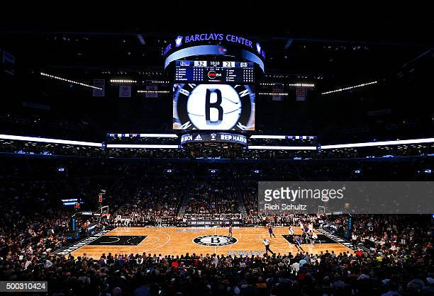 General view of the Barclays Center as the Golden State Warriors play the Brooklyn Nets during an NBA basketball game on December 6 2015 in the...