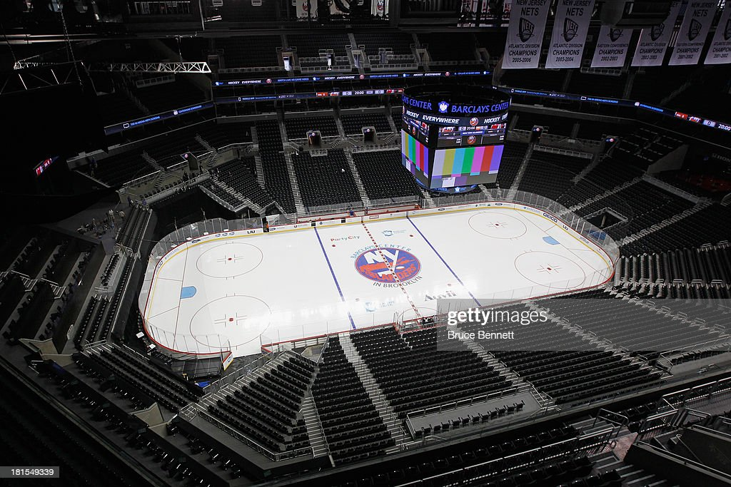 A general view of the Barclays Center prior to the game between the New York Islanders and the New Jersey Devils in a preseason game on September 21, 2013 in Brooklyn borough of New York City.The game is the first professional hockey match to be held in the arena that is slated to be the new home for the Islanders at the start of the 2015-2016 season. The Devils defeated the Islanders 3-0.